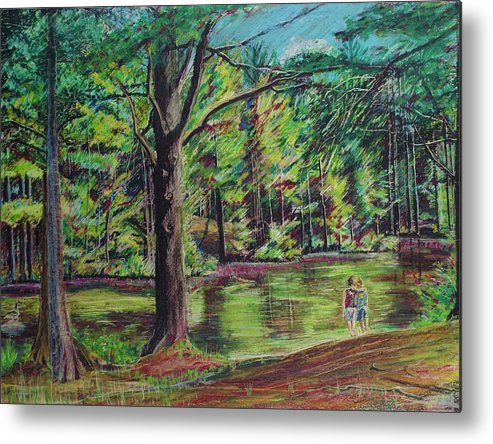 Family Metal Print featuring the pastel Sisters At Wason Pond by Sean Connolly