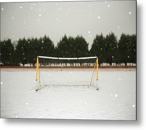 Tranquility Metal Print featuring the photograph Soccer net in winter by Ashley Jouhar