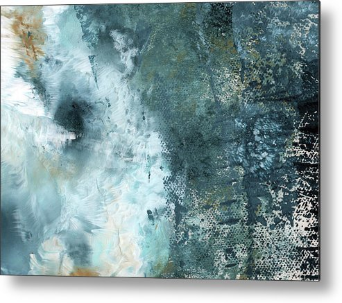 Abstract Metal Print featuring the painting Summer Storm- Abstract Art by Linda Woods by Linda Woods
