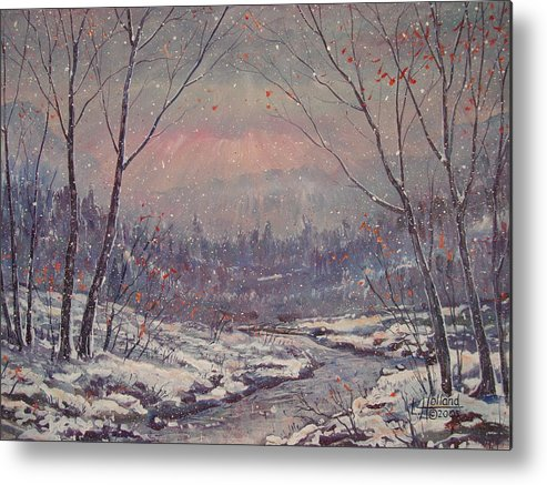 Landscape Metal Print featuring the painting Sunset In Winter. by Leonard Holland