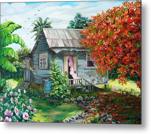 Caribbean Painting Original Painting Trinidad And Tobago ..house Painting Flamboyant Tree Painting Red Blossoms Painting Floral Painting Tree Painting Tropical Painting Metal Print featuring the painting Sweet Tobago Life. 2 by Karin Dawn Kelshall- Best