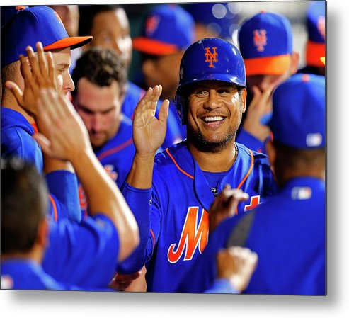 Second Inning Metal Print featuring the photograph Taylor Teagarden And Bobby Abreu by Rich Schultz