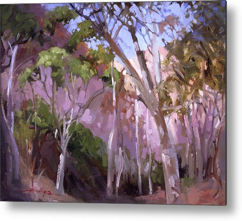 Catalina Island Paintings Metal Print featuring the painting The Gum Grove Catalina by Betty Jean Billups