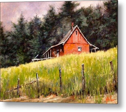 Landscape Metal Print featuring the painting The Red Coach Stop by Jim Gola