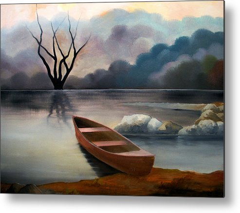 Duck Metal Print featuring the painting Tranquility by Sergey Bezhinets
