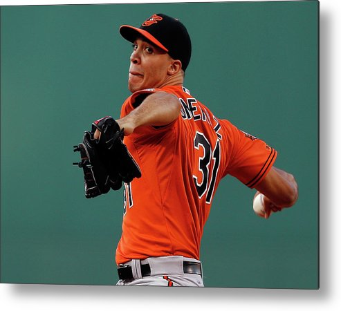 American League Baseball Metal Print featuring the photograph Ubaldo Jimenez by Jim Rogash
