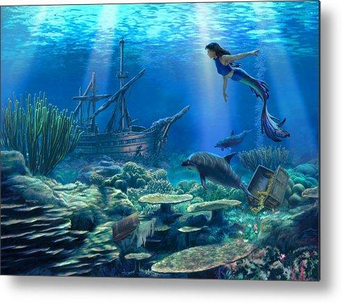 Mermaid Metal Print featuring the digital art Undersea Discovery by Stu Shepherd