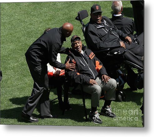 San Francisco Metal Print featuring the photograph Willie Mays, Barry Bonds, and Willie Mccovey by Ezra Shaw