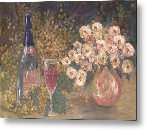 Stilllife; Floral; Wine Metal Print featuring the painting Wine And Roses by Ben Kiger