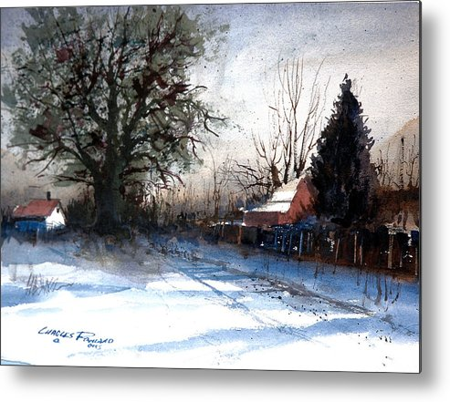 Winter. Shadows Metal Print featuring the painting winter Shadows by Charles Rowland