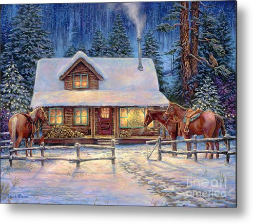 Snow Cabin Metal Print featuring the painting Winter's Oasis by Chuck Pinson