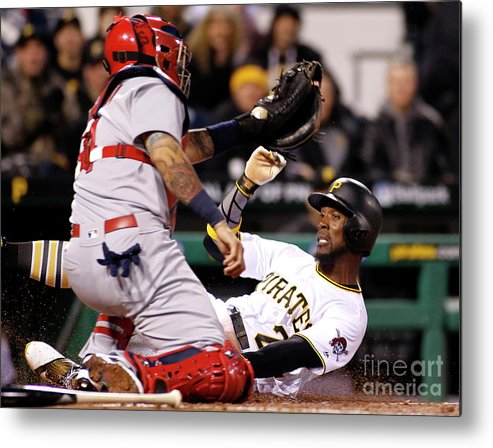People Metal Print featuring the photograph Yadier Molina and Andrew Mccutchen by Justin K. Aller