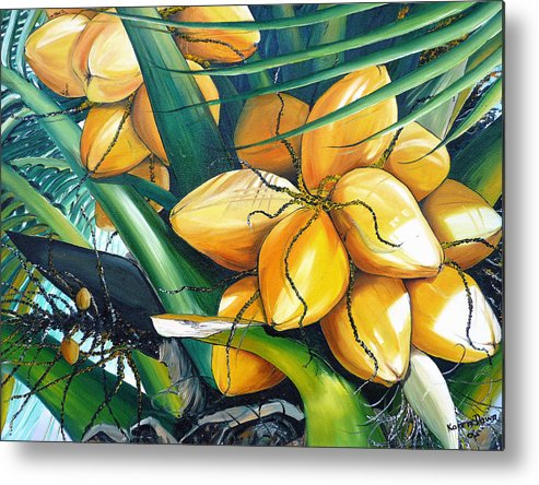 Coconut Painting Botanical Painting  Tropical Painting Caribbean Painting Original Painting Of Yellow Coconuts On The Palm Tree Metal Print featuring the painting Yellow Coconuts by Karin Dawn Kelshall- Best