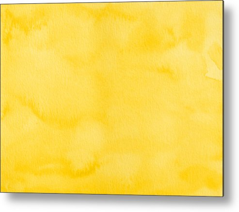 Material Metal Print featuring the photograph Yellow watercolor texture background by Flavio Coelho