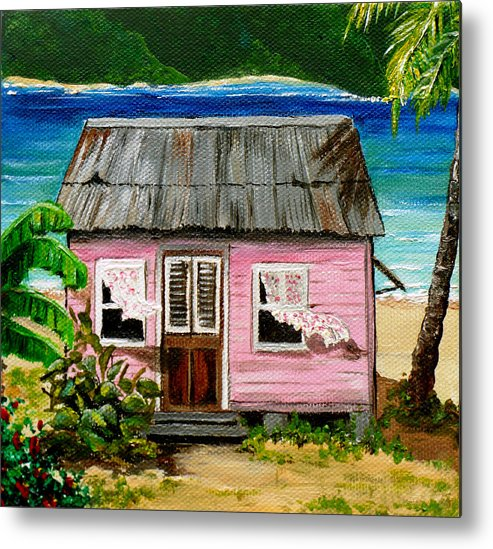 Caribbean House Metal Print featuring the painting Pink Caribbean House by Karin Dawn Kelshall- Best