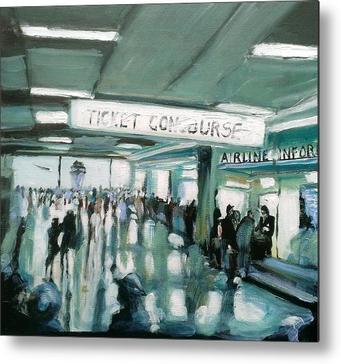 Airport Metal Print featuring the painting 1960's Airport by Paul Mitchell