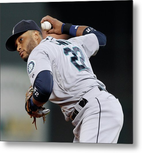 American League Baseball Metal Print featuring the photograph Seattle Mariners V Houston Astros by Bob Levey