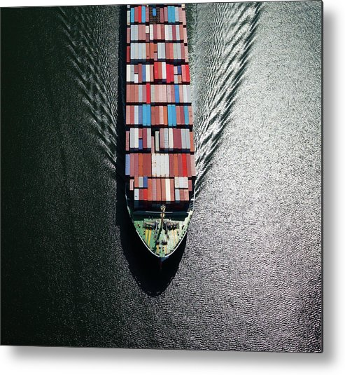 Freight Transportation Metal Print featuring the photograph Container Ship Bow by Dan prat
