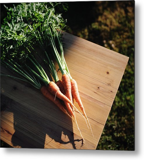 Five Objects Metal Print featuring the photograph Garden Carrots On Sunny Stool by Danielle D. Hughson