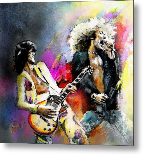 Musicians Metal Print featuring the painting Jimmy Page and Robert Plant Led Zeppelin by Miki De Goodaboom