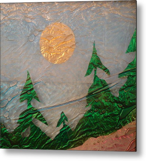 Glass Art Metal Print featuring the painting Moon Mist by Rick Silas