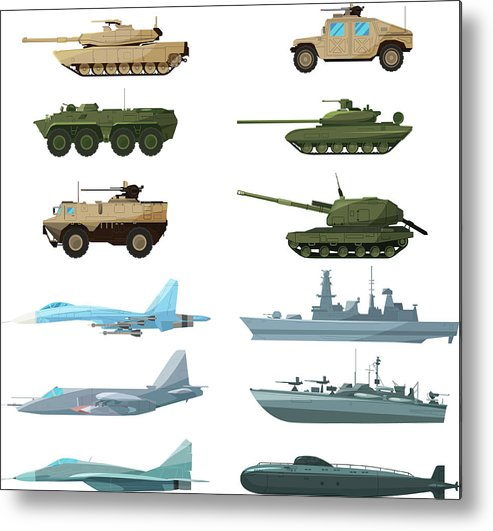 Insect Metal Print featuring the digital art Naval Vehicles, Airplanes And Different by Onyxprj