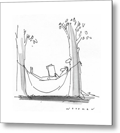 77339 Bwo Bill Woodman (man Is Reading In A Hammock As A Tree With A Face Reads Over His Shoulder.) Alive Book Books Environment Face Hammock Hammocks Landscape Landscapes Leisure Man Nature Outdoor Outdoors Over Read Reading Reads Relax Relaxation Relaxing Shoulder Tree Trees Metal Print featuring the drawing New Yorker July 26th, 1976 by Bill Woodman
