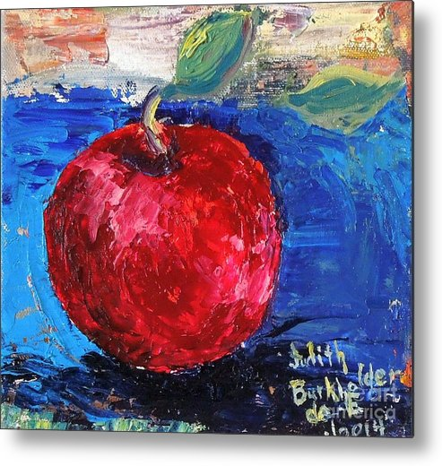 Apple Metal Print featuring the painting Ruby Red Apple - SOLD by Judith Espinoza