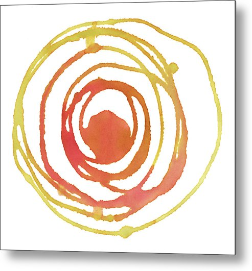 Watercolor Painting Metal Print featuring the digital art Sun Circle Abstract Water Color Paint by 4khz