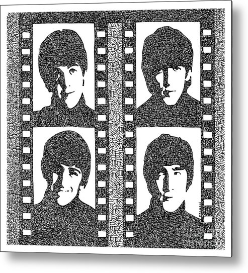 The Beatles Cover Japan Metal Print featuring the drawing The Beatles Yeah Yeah Yeah by Drawspots Illustrations