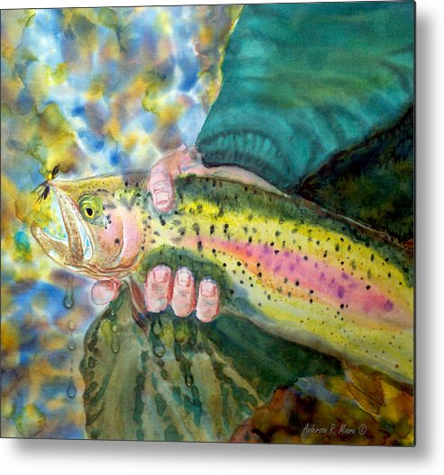 Fly Fishing Artwork Metal Print featuring the painting The Catch by Anderson R Moore