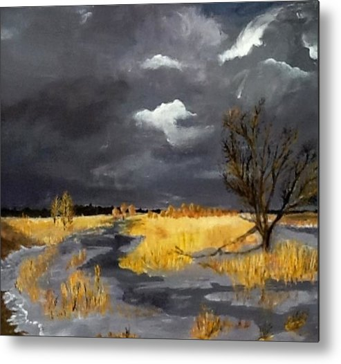 Acrylic Metal Print featuring the painting Thus In The Winter Stands The Lonely Tree by Bruce Combs - REACH BEYOND