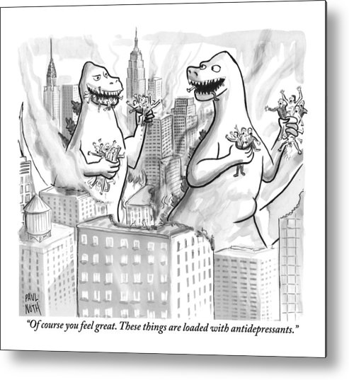 Godzilla Metal Print featuring the drawing Two Godzillas Talk To Each Other by Paul Noth