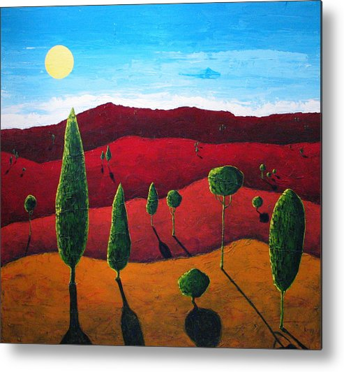 Landscape Metal Print featuring the painting Hills of Red III by Rollin Kocsis