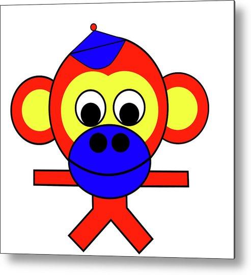 Bernhard The Monkey Metal Print featuring the digital art Bernhard the Monkey by Asbjorn Lonvig