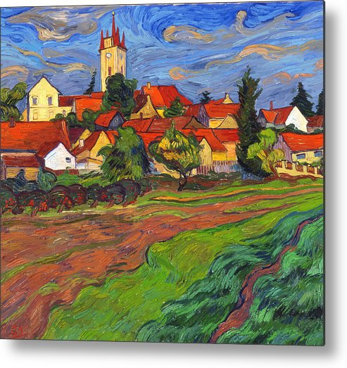 Landscape Metal Print featuring the painting Country with the red roofs by Vitali Komarov