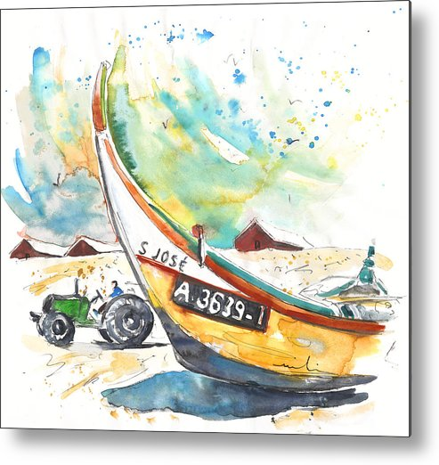 Portugal Metal Print featuring the painting Fisherboat in Praia de Mira by Miki De Goodaboom