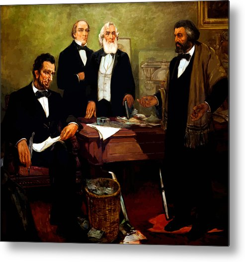 Frederick Douglass Metal Print featuring the painting Frederick Douglass Appealing To President Lincoln by War Is Hell Store