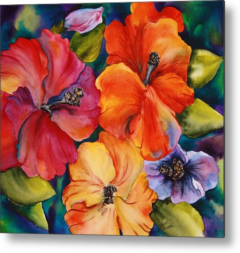 Floral Metal Print featuring the painting Hibiscus mini by Diane Ziemski