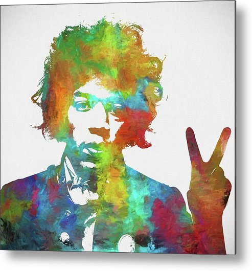 Jimi Metal Print featuring the painting Jimi Hendrix Peace by Dan Sproul
