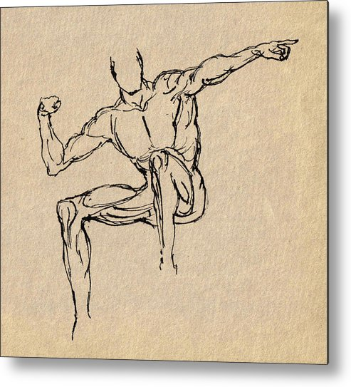 Man Metal Print featuring the drawing Man Giving Direction by Brett H Runion