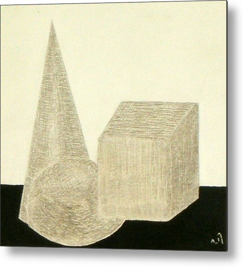 Still Life Geometrical Shapes Metal Print featuring the drawing No.305 by Vijayan Kannampilly