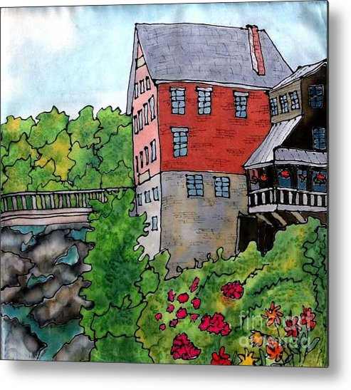 Old Mill Metal Print featuring the painting Old Mill in Bradford by Linda Marcille