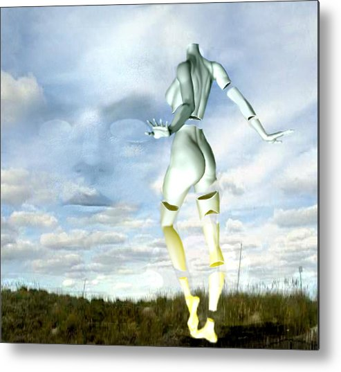 Sky Naked Woman Surreal Dance Metal Print featuring the digital art Out of my mind... by Veronica Jackson