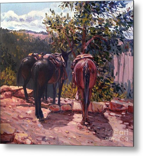 Mules Metal Print featuring the painting Resting on the Kaibab Trail by Donald Maier