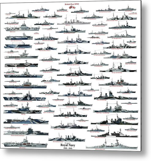Royal Navy Metal Print featuring the drawing Royal Navy ww2 by The collectioner