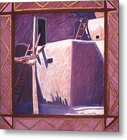 Pueblo Art Metal Print featuring the pastel Taos Corner by Jo Thompson