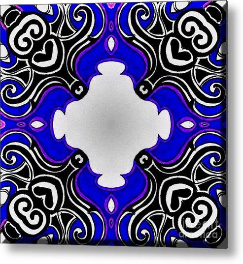 Tribal Pattern Blue Metal Print featuring the digital art Tribal Pattern - Blue by Graham Roberts