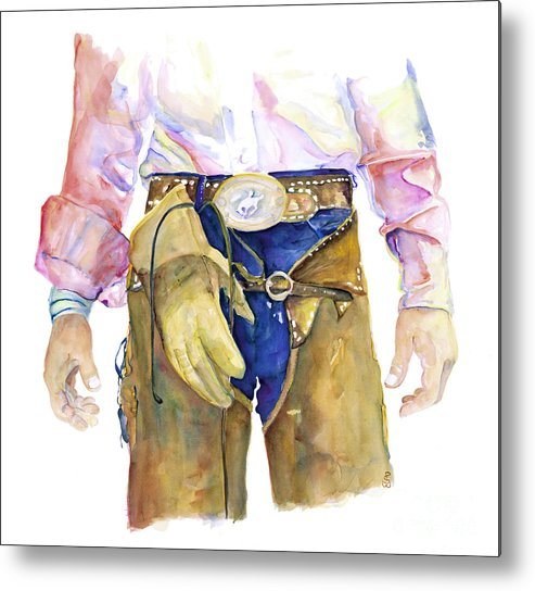 Cowboy Painting Metal Print featuring the painting Wrangler by Pat Saunders-White