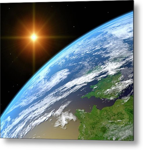 Color Image Metal Print featuring the digital art Earth, Artwork by Science Photo Library - Roger Harris.